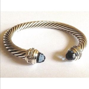 DY Hampton Blue &Diamond Bangle 7mm Cable